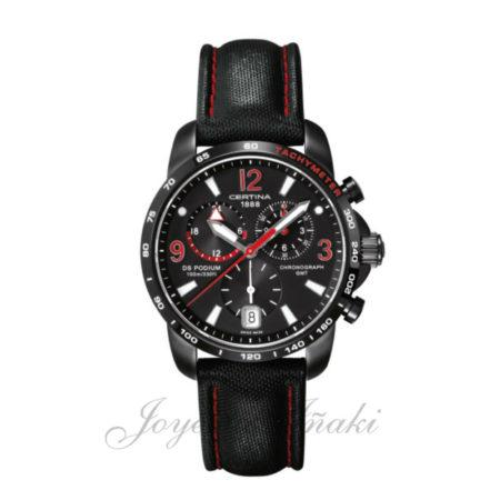 Reloj de acero inoxidable 316 L con revestimiento de PVD. Corona protegida y cristal de zafiro. Soporta una presión de 10 bar (100 metros). Pulsera de cuero negro y cierre de mariposa con dos pulsadores.